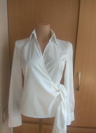 Белая рубашка, блуза на запах, с  бантом, с завязками