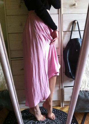 Нежная розовая юбка миди от zara