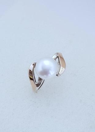 Серебряное кольцо с жемчугом и золотом, 17 размер