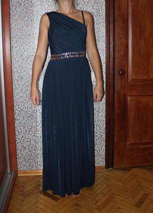 Платье вечернее длинное темно синее на одно плече