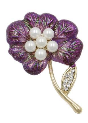 Брошь женская бижутерия с белым жемчугом фиолетовый цветок br110624