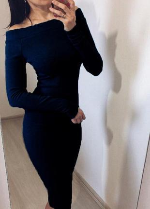 Женское платье с открытыми плечами, тёмно-синие