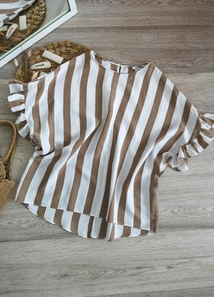 Блузка в полоску с рюшами от river island