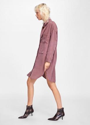 Платье из лиоцела грязно-розового цвета, платье рубашка лиоцел zara