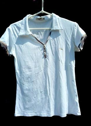 Белая футболка,поло,тенниска,burberry.размер м, оригинал 100%