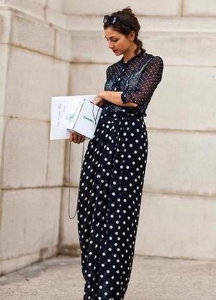Alberta ferretti! макси длинная шелковая юбка в пол, горохи, натуральный шёлк, шовк, шелк