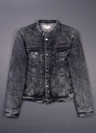 Черная серая варёная джинсовая  куртка без ворота h&m