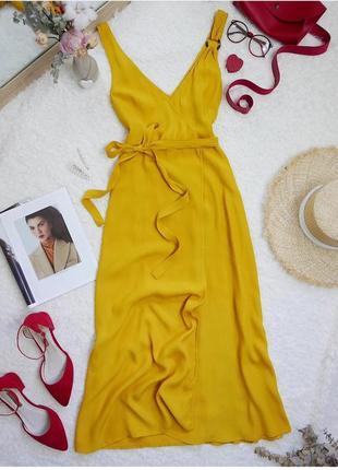 Платье сарафан миди на запах желтое горчичное из вискозы