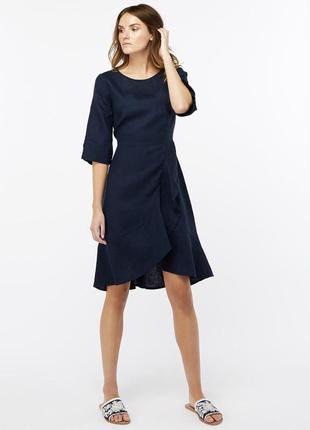 Женское повседневное нарядное платье лен лето осень синее с воланом рукавом