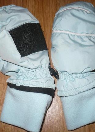 Перчатки лыжные 6-8 лет голубые