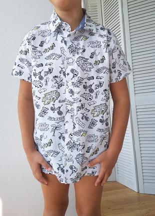 Рубашка bluezoo для мальчика белая с принтом