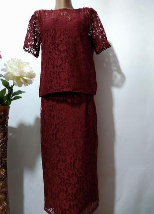Стильный кружевной костюм блузка + юбка