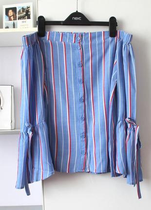 Стильная рубашка в полоску с открытыми плечами от atmosphere