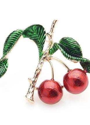 Брошь-кулон женская бижутерия с эмалью фрукты вишня br110954 красная