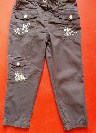 Летние зауженные брюки с вышевкой