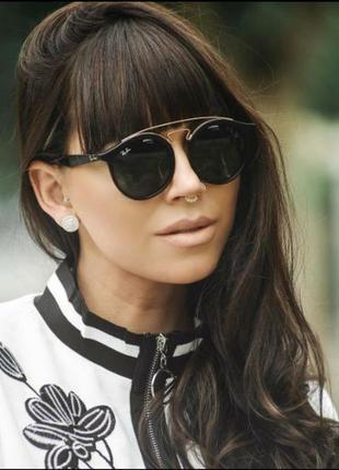 Женские очки солнце  черные круглые двойной мост (код 4256)