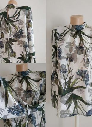 Блуза блузка принт длинный рукав
