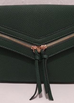 Женский клатч с замочками (тёмно-зелёный) 19-07-003