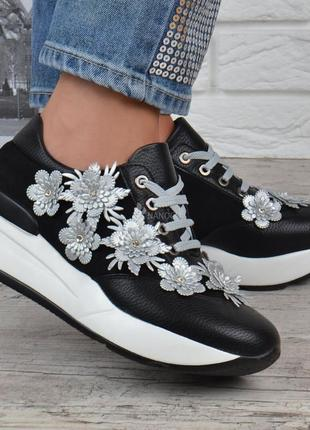 Кроссовки женские на платформе сникерсы liu jo черные серебро