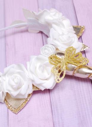 Обруч ободок единорог с белыми розами