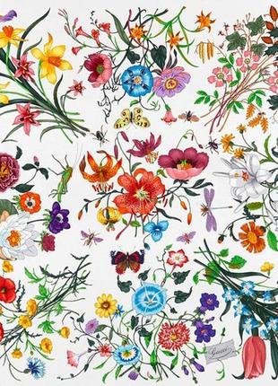 Дизайнерский культовый шелковый gucci платок с принтом flora