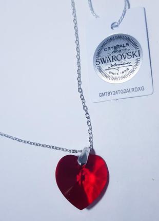 Кулон красное сердце оригинал кристаллы сваровски swarovski подарок любимой девушке