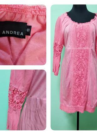 Шикарное трикотажное платье с кружевом andrea