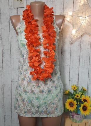Кружевная гипюровая удлиненная майка туника топ блуза накидка пляжная р. s - м topshop