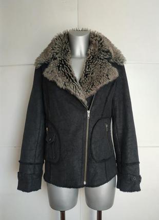 Куртка next в байкерском стиле next , с подкладкой из искусственной овчины