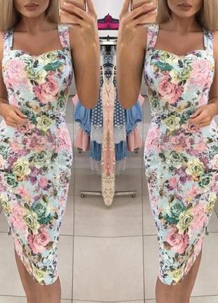 Изысканное утонченное цветочное эластичное миди платье