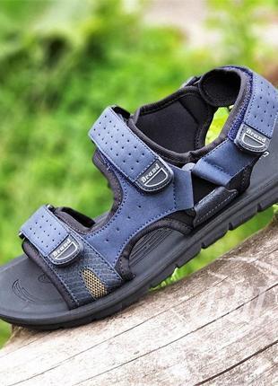Босоножки сандалии мужские синие на липучках спортивные