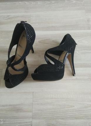 Черные босоножки, туфли, на высоком каблуке