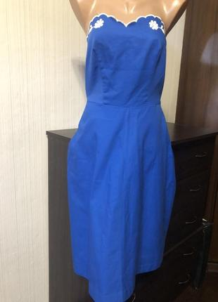 Платье бюстье синее котон под zara