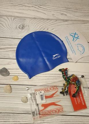 Шапочка для плавания унисекс силиконовая купальная шапочка для бассейна бренд slazenger