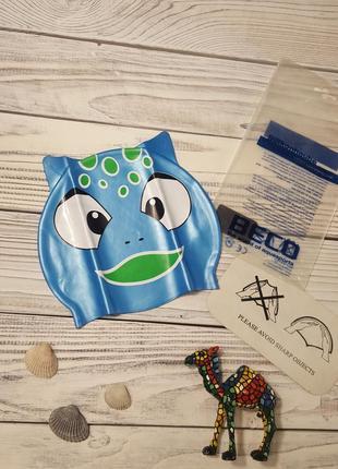 Шапочка для плавания с ушками силиконовая купальная шапочка для бассейна beco