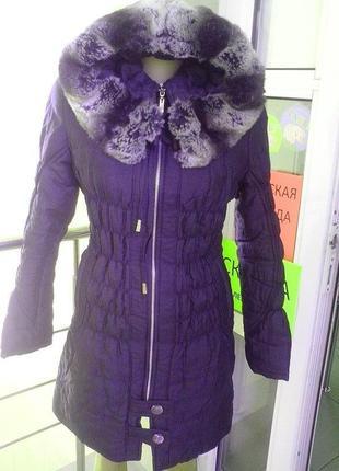 Теплая зимняя куртка-пальто с натуральным мехом (мутон) на воротнике размер 42-44