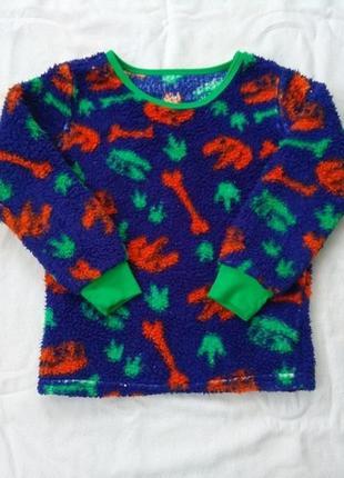Меховушка, 6-7-8 лет, махровая пижамная кофта, флиска, с динозаврами