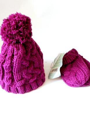 Детский комплект: шапочка и варежки, на возраст 3-6 мес.
