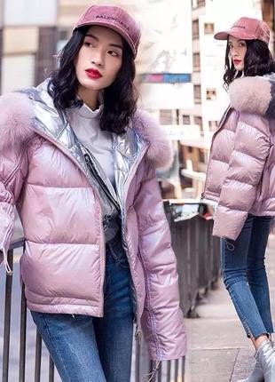 Зимняя двусторонняя куртка пуховик с натуральным мехом.