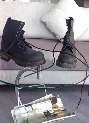 Ботинки из нубука стиль милитари р 37