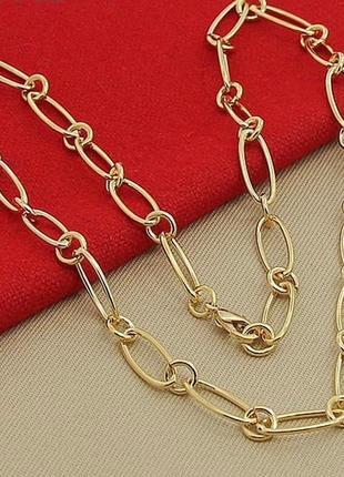 Комплект золотая цепочка и браслет, тренд 2020