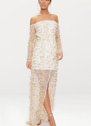 Изысканное брендовое нарядное макси платье в паетки prettylittlething