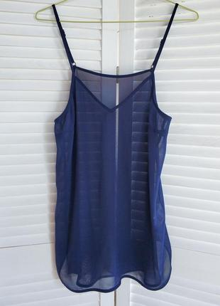 Блуза, топ, майка в бельевом стиле, синяя, удлиненная.