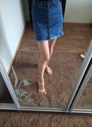 Юбка джинсовая с лампасами