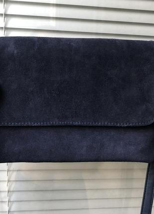 Клатч сумка на ремешке на плечо натуральная кожа замша