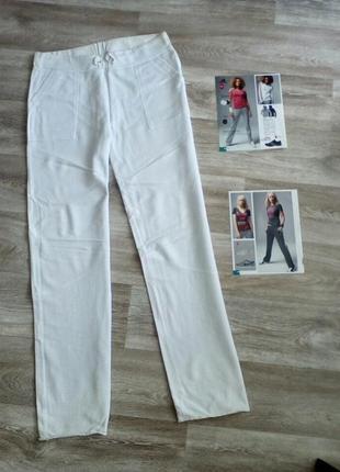 Белые 100% котон спортивные брюки с высокой посадкой на (высокую)  l