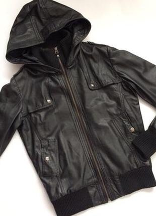 Mango casual sportswear кожаная куртка бомбер с капюшоном