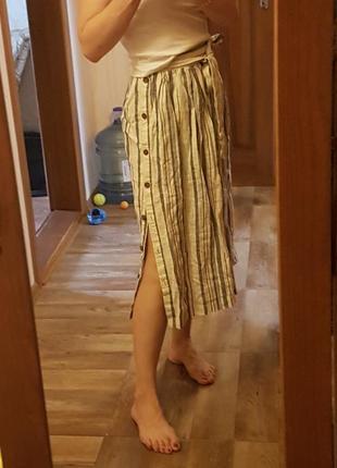 Новая льняная юбка zara