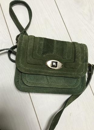 Zara замшевая кожаная сумка кроссбоди клатч манго