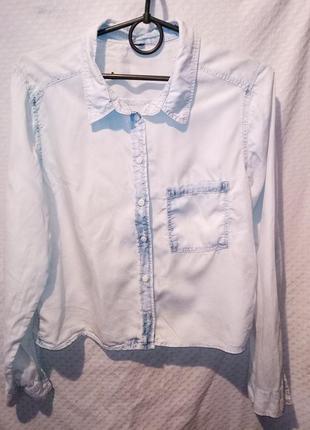 Рубашка женская укороченная джинсовая голубая